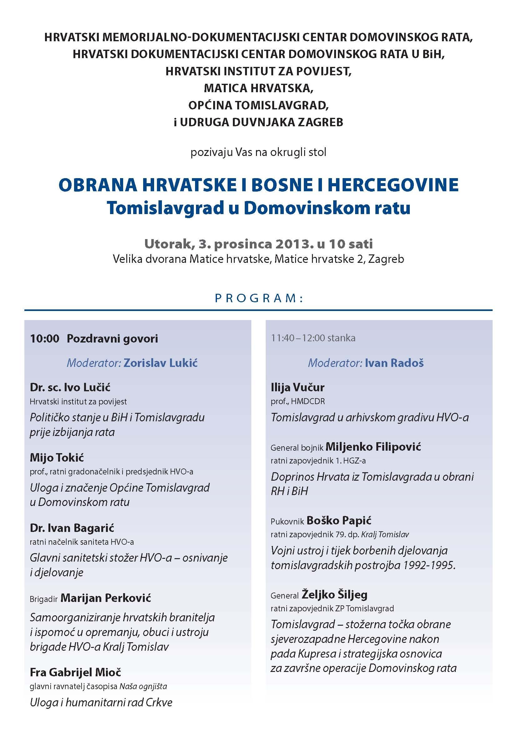 Pozivnica-Tomislavgrad u Domovinskom ratu